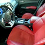 Red leather interior of 2012 Chrysler 300 SRT8