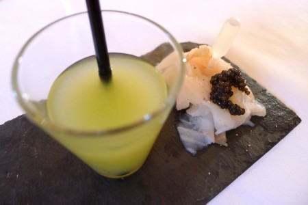 Le Citron Vodka in cucumber gazpacho with sea bream carpaccio