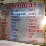 Los Coyotes exotic meat menu