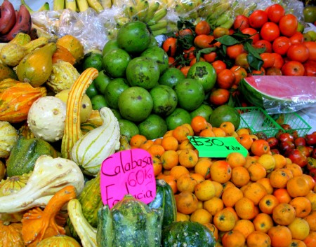 Fruits and squashes at the Mercado Juarez
