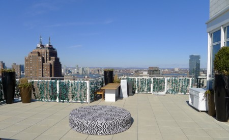 Rooftop patio ready for a swanky party