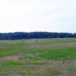 Where the first four flights took off at Wright Brothers National Memorial Park, Kitty Hawk