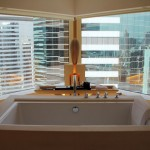 Free-standing bathtub with a view at The Upper House, Hong Kong