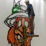 Chris Brown Getting Started on an Interactive Mural at MB Galleries in Los Angeles