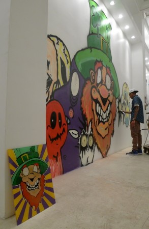 Plexiglass Piece by Mike Farhat Reunited with Original Mural by Chris Brown at MB Galleries