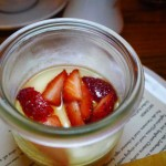 To end the meal, panna cotta with crème fraîche, strawberries and Meyer lemon cookie