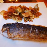 Mediterranean sea bass with potatoes, artichokes, lemon and pantelleria caper jus served at Sirio Ristorante