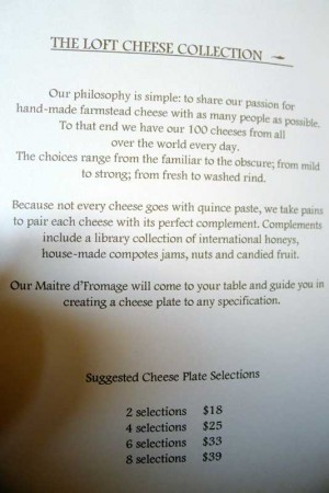 Cheese menu options and pricing from The Loft at Montage Laguna Beach
