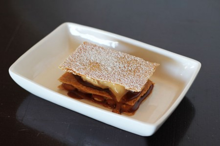 For dessert, the sea salt caramel mille-feuille from The Loft in Laguna Beach, CA