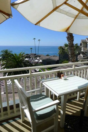 Outdoor dining with ocean views at The Loft at Montage Laguna Beach
