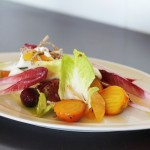 Endive salad with roasted beets, rosemary creme fraiche and crispy shallots at The Loft in Laguna Beach, CA