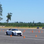 Polaris White Jaguar F-Type S in action