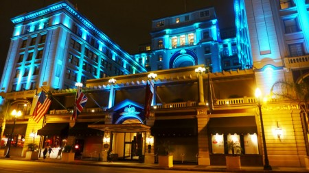 The US Grant hotel at night