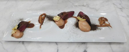 A dish of wild wood pigeon, created by chef Walter el Negar at Barbershop Ristorante in Venice, CA.