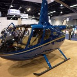beautiful and powerful blue robinson 66 turbine light helicopter