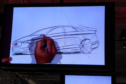A live sketch of the A3 sedan