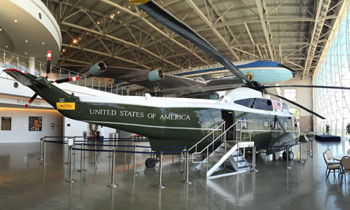 The Marine One helicopter flew President Johnson
