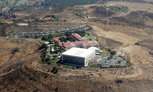 The Ronald Reagan Presidential Library and Museum is situated atop a hill
