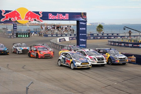 The race begins at Red Bull Global Rallycross