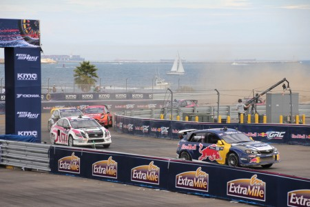And they're off! The Global Rallycross track at the Port of Los Angeles