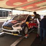 Sebastian Eriksson's Red Bull SuperCar on the Rallycross's scales post race