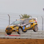 Brazil's Nelson Piquet Jr. on a dirt Rallycross track