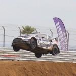 Patrik Sandell catching air at the Global Rallycross in Los Angeles