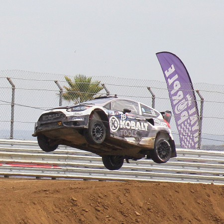 Patrik Sandell catching air at the Global Rallycross in Los Angeles