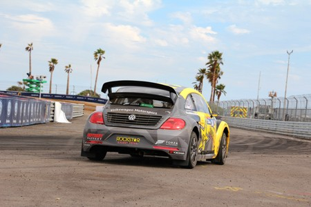 A rear view of Tanner Foust's Volkswagen