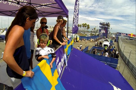 Sandell's family overlooks the track from the Royal Purple truck