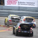 SuperCar drivers Tanner Foust and Sebastian Eriksson collide on the track