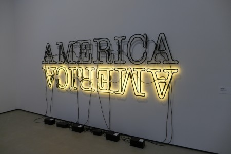 """Double America 2"" is Glenn Ligon's most recent work and is crafted of neon and paint"