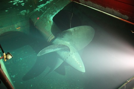 A view of The Queen Mary's propeller underwater