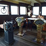 Visitors can tour the wheel room on The Queen Mary where the helmsman controlled the steering