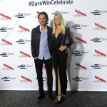 Jean-Eric Vergne with girlfriend Petra Silander at the Formula E champagne Mumm event